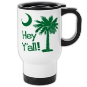 Say hello with the Green Hey Y'all Palmetto Moon Travel Mug. It features the South Carolina palmetto moon.