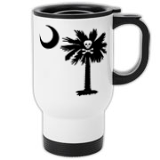 Buy a Jolly Roger Pirate Palmetto Moon Travel Mug featuring a palmetto with a Jolly Roger pirate flag background. The palmetto moon is a symbol of South Carolina pride.