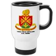 158th Artillery, MLRS - Insulated Travel Mug: Image distortion caused by the 2D image of a curved object. Actual item image is clear and sharp.