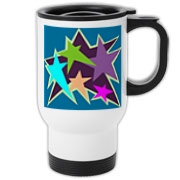 This star travel mug is bright and colorful! Just what one needs to brighten their day!