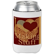 I love (heart) making stuff appears on this can cooler on front and back of the cooler. It makes a perfect gift for the crafter whether right handed or left handed!
