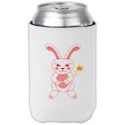 Celebrate Chinese New Year with this cute year of the metal rabbit can cooler! This rabbit is happily carrying a red and gold pinwheel with bells! Also a great gift for someone who just loves rabbits! Red version. Image on both sides.