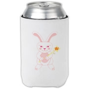 Celebrate Chinese New Year with this cute year of the metal rabbit can cooler! This rabbit is happily carrying a red and gold pinwheel with bells! Also a great gift for someone who just loves rabbits! Pink version. Image on both sides.