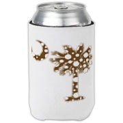 Chocolate Brown Polka Dot Palmetto Moon Can Cooler features a chocolate brown palmetto moon with white polka dots. Buy this fun variation on the South Carolina palmetto moon flag today!