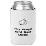 This witty computer can cooler says: This Frugal Nerd Uses Linux. A hand with extended thumb points to the user. If you're smart enough to use Linux, you're smart enough to use this design.