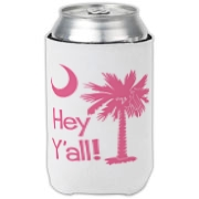Say hello with the Pink Hey Y'all Palmetto Moon Can Cooler. It features the South Carolina palmetto moon.