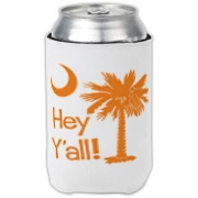 Say hello with the Orange Hey Y'all Palmetto Moon Can Cooler. It features the South Carolina palmetto moon.