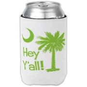 Say hello with the Lime Green Hey Y'all Palmetto Moon Can Cooler. It features the South Carolina palmetto moon.