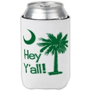 Say hello with the Green Hey Y'all Palmetto Moon Can Cooler. It features the South Carolina palmetto moon.
