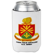 158th Artillery, MLRS -  Can Cooler / Cold Drink Coozie: Image distortion caused by the 2D image of a curved object. Actual item image is clear and sharp.