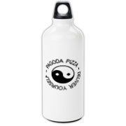 Aluminum water bottle with the Pagoda Pizza logo from A.S. King's novel, Please Ignore Vera Dietz.