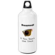 This funny Linux aluminum water bottle says: Doomed If You Don't Use Linux. For emphasis it has an ominous image of the grim reaper.