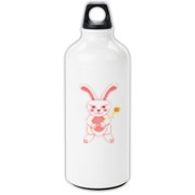 Celebrate Chinese New Year with this cute year of the metal rabbit water bottle! This rabbit is happily carrying a red and gold pinwheel with bells! Also a great gift for someone who just loves rabbits! Red version. Image on both sides.