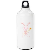 Celebrate Chinese New Year with this cute year of the metal rabbit water bottle! This rabbit is happily carrying a red and gold pinwheel with bells! Also a great gift for someone who just loves rabbits!  Pink version. Image on both sides.
