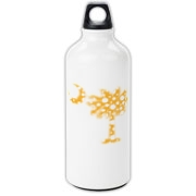 Yellow Polka Dot Palmetto Moon Aluminum Water Bottle features a yellow palmetto moon with white polka dots. Buy this fun variation on the South Carolina palmetto moon flag today!