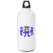 This Stonehenge style aluminum water bottle shows six massive stone Pi symbols arranged in a great circle. Within the circle of Pi symbols burns a sacrificial fire. Perfect for Pi Day and Pi lovers everywhere.