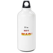 This comical aluminum water bottle says: I'm NOT MAD! Color and font are used to build to an angry pitch.