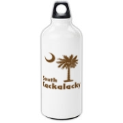 Brown South Cackalacky Palmetto Moon Aluminum Water Bottle features the South Carolina palmetto moon logo in brown.