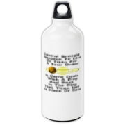 This humorous Cassini probe aluminum water bottle uses a witty limerick to tell of the Huygens probe adventure. It shows a depiction of Saturn and its giant moon Titan.