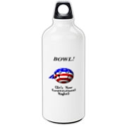 This comical stars and stripes bowling aluminum water bottle shows a smiling bowling ball caricature decked out in red, white and blue. The caption says: BOWL! (It's Your Constitutional Right).