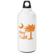 Say hello with the Orange Hey Y'all Palmetto Moon Aluminum Water Bottle. It features the South Carolina palmetto moon.
