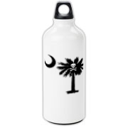 Buy a Jolly Roger Pirate Palmetto Moon Aluminum Water Bottle featuring a palmetto with a Jolly Roger pirate flag background. The palmetto moon is a symbol of South Carolina pride.