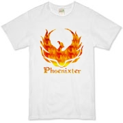 Phoenixter Logo on the front; Trefoil Academy emblem on the back.  Text designed for lighter shirt colors.