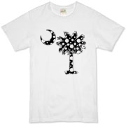 Black Polka Dot Palmetto Moon Organic T-Shirt features a black palmetto moon with white polka dots. Buy this fun variation on the South Carolina palmetto moon flag today!