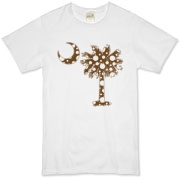 Chocolate Brown Polka Dot Palmetto Moon Organic T-Shirt features a chocolate brown palmetto moon with white polka dots. Buy this fun variation on the South Carolina palmetto moon flag today!