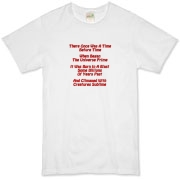 This zany cosmology limerick organic t-shirt gives in rhyme a quick recount of the evolution of the universe, from the Big Bang beginning to the creation of mankind.