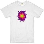 This esoteric art organic t-shirt looks like a colorful, spiral galaxy.