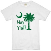 Say hello with the Green Hey Y'all Palmetto Moon Organic T-Shirt. It features the South Carolina palmetto moon.