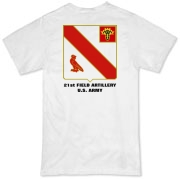 21st Field Artillery - Organic, Light Color T-Shirts. Front & Back Insignia. Available in 2 Light Colors.