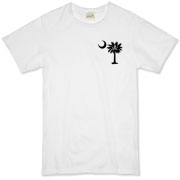 Buy a Calico Jack Pirate Palmetto Moon Organic T-Shirt featuring a smaller palmetto printed on the left chest area with a Calico Jack pirate flag background. The palmetto moon is a symbol of South Carolina pride.