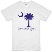 Buy a Purple Carolina Girl Organic T-Shirt featuring the South Carolina palmetto moon logo.