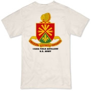 158th Artillery, MLRS - Light Color Organic T-Shirts: Front & Back Insignia, Available in 3 Light Colors.