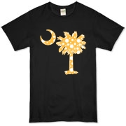 Yellow Polka Dot Palmetto Moon Organic T-Shirt features a yellow palmetto moon with white polka dots. Buy this fun variation on the South Carolina palmetto moon flag today!