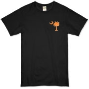 Orange and Purple South Cackalacky Palmetto Moon Organic T-Shirt features the South Carolina palmetto moon logo in orange and purple on the back and a smaller, matching palmetto moon on the front.