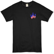 This bowling t-shirt with red white and blue pocket emblem design shows bright colored bowling pins and a colorful bowling ball, all wrapped in stars and stripes.