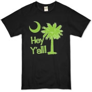 Say hello with the Lime Green Hey Y'all Palmetto Moon Organic T-Shirt. It features the South Carolina palmetto moon.