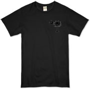 Buy a Black Palmetto Moon Organic T-Shirt featuring a smaller palmetto printed on the left chest area. The palmetto moon is a symbol of South Carolina pride.