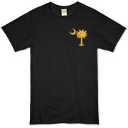 Buy a Yellow Smiley Palmetto Moon Organic T-Shirt featuring a smaller palmetto printed on the left chest area. The palmetto moon is a symbol of South Carolina pride.