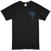 Buy a Blue Carolina Girl Deluxe Organic T-Shirt. This two-sided design features a small palmetto moon printed on the front left chest area and matching Carolina Girl palmetto design on the back. The palmetto moon is a symbol of South Carolina pride.