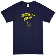 Proudly show off your college major with this clever college organic t-shirt, which uses a pointing thumb gesture to indicate that you are a chemistry major.