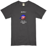 This whimsical stars and stripes bowling t-shirt shows a smiling bowling ball caricature decked out in red, white and blue. The caption says: BOWL! (It's Your Constitutional Right).