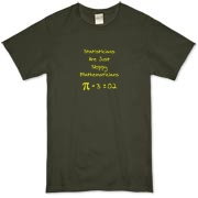 This humorous statistics organic t-shirt says Statisticians Are Just Sloppy Mathematicians. It shows the statistical equation for PI as Pi = 3 +/- 0.2 as proof. The Pi symbol is used instead of the word Pi.