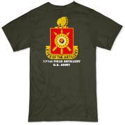 171st Field Artillery, MLRS - Organic, Dark Color T-Shirts. Front & Back Insignia. Available in 5 Dark Colors.