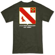 21st Artillery MLRS - Organic, Dark Color T-Shirts. Front & Back Insignia. Available in 5 Dark Colors.