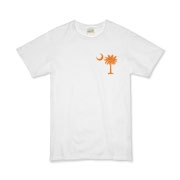 Orange and Purple South Cackalacky Palmetto Moon Organic Kids T-Shirt features the South Carolina palmetto moon logo in orange and purple on the back and a smaller, matching palmetto moon on the front.