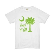 Say hello with the Lime Green Hey Y'all Palmetto Moon Organic Kids T-Shirt. It features the South Carolina palmetto moon.